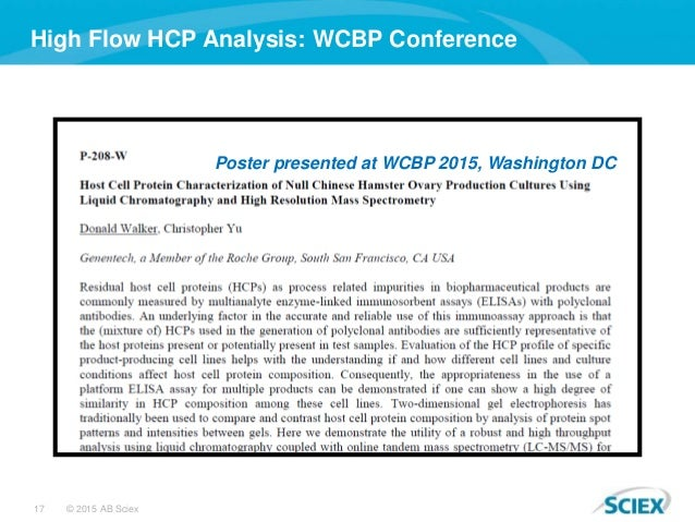 17 © 2015 AB Sciex High Flow HCP Analysis: WCBP Conference Poster presented at WCBP 2015, Washington DC