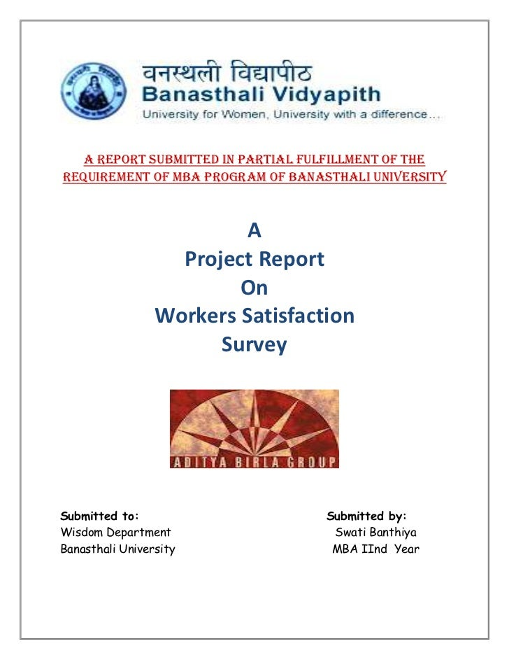 A report submitted in partial fulfillment of therequirement of MBA Program of Banasthali University                       ...