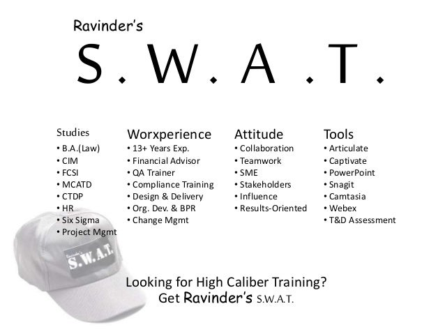 S . W A T ... Studies • B.A.(Law) • CIM • FCSI • MCATD • CTDP • HR • Six Sigma • Project Mgmt Worxperience • 13+ Years Exp...