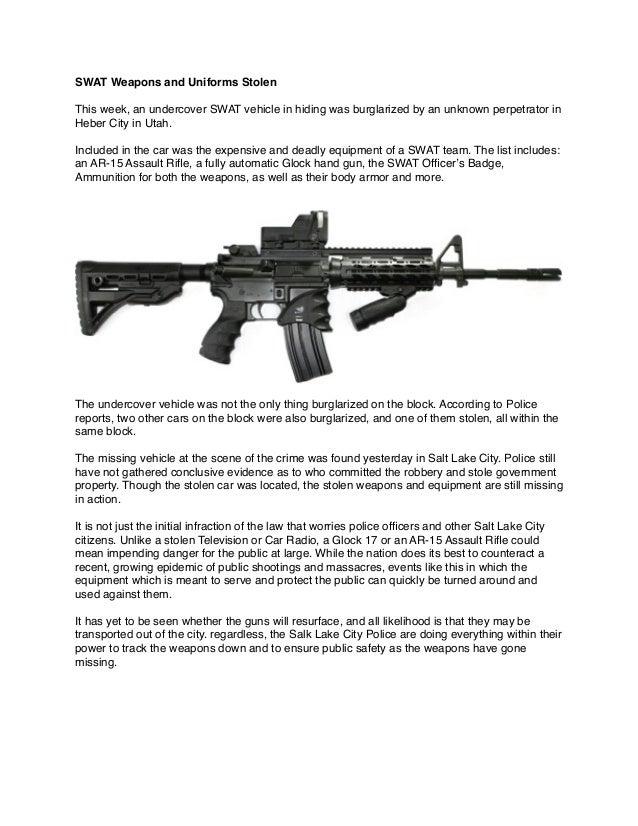 Swat Weapons And Uniforms Stolen