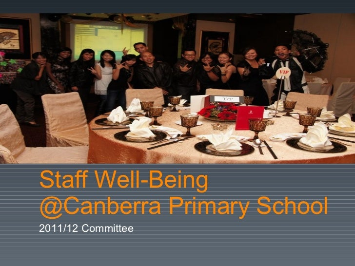 Staff Well-Being @Canberra Primary School 2011/12 Committee