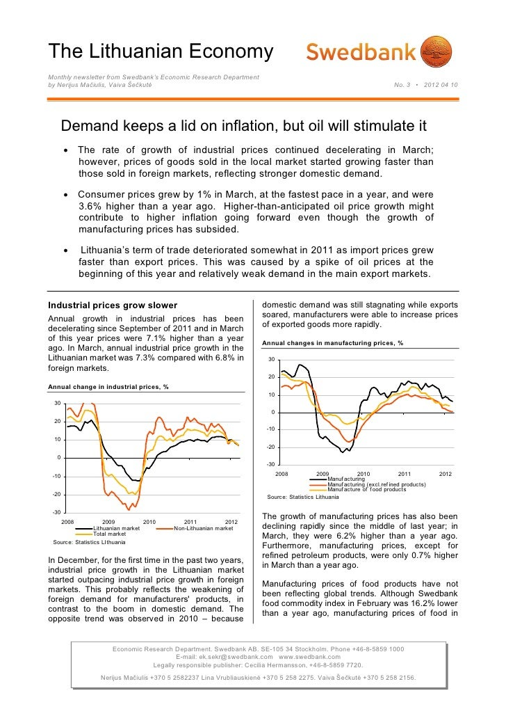 The Lithuanian EconomyMonthly newsletter from Swedbank's Economic Research Departmentby Nerijus Mačiulis, Vaiva Šečkutė   ...