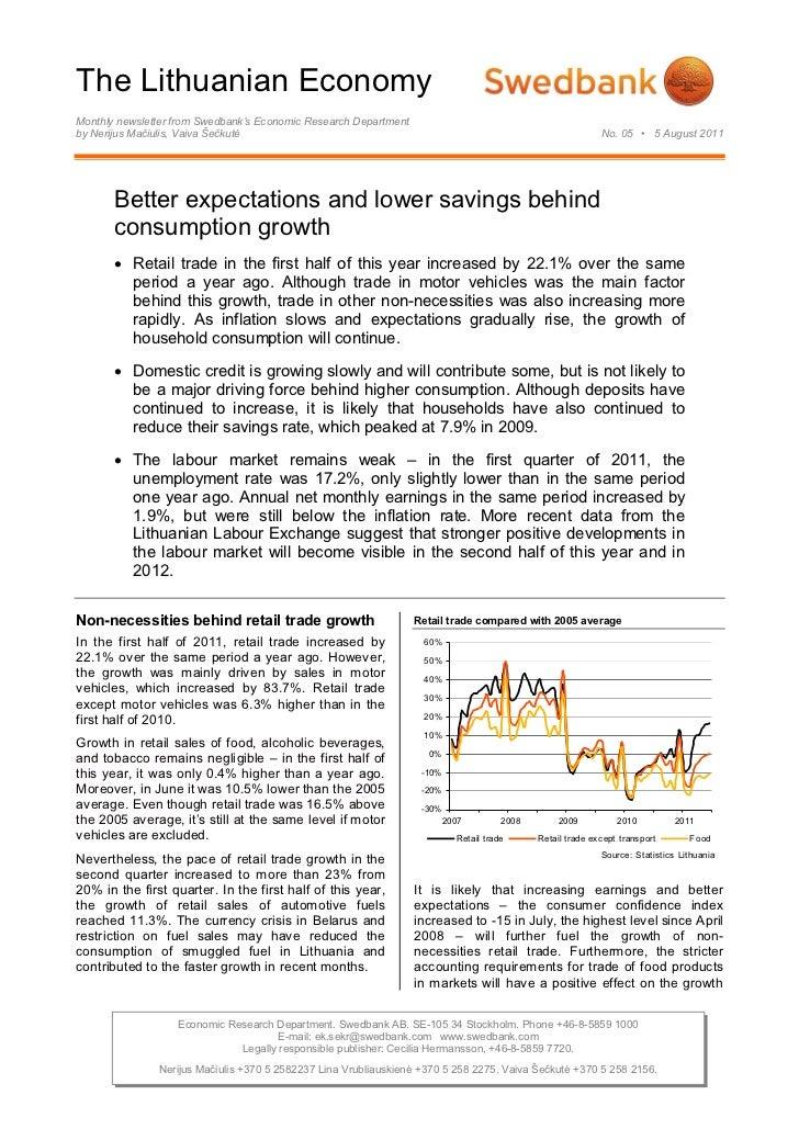 The Lithuanian EconomyMonthly newsletter from Swedbank's Economic Research Departmentby Nerijus Mačiulis, Vaiva Šečkutė   ...