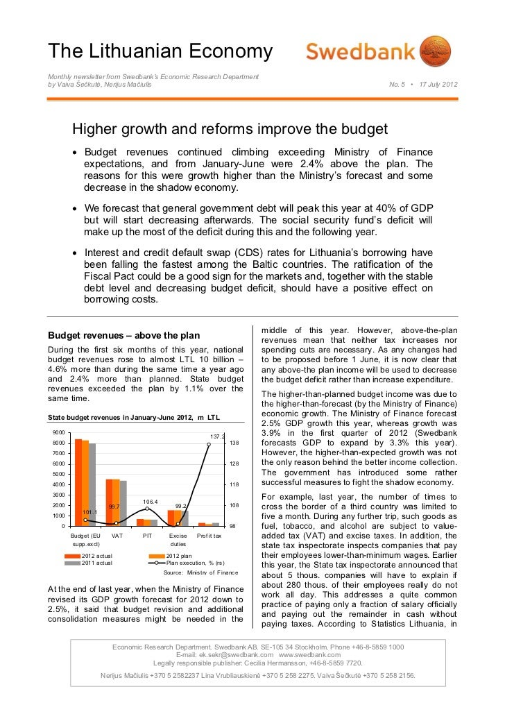 The Lithuanian EconomyMonthly newsletter from Swedbank's Economic Research Departmentby Vaiva Šečkutė, Nerijus Mačiulis   ...