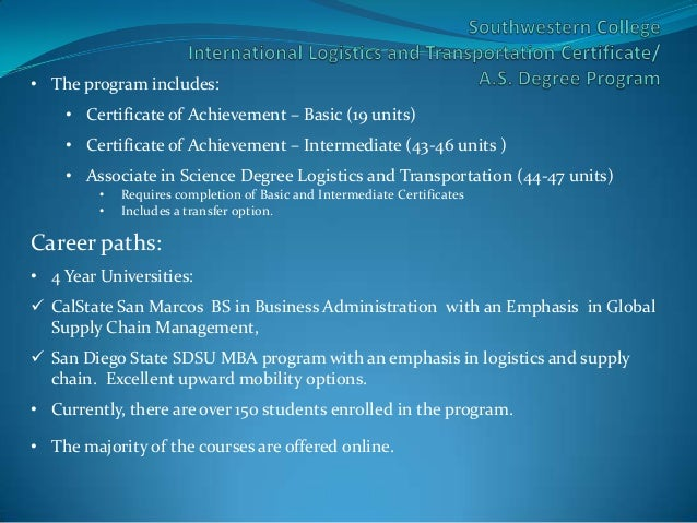 International Logistics & Transportation Program at Southwestern Coll…
