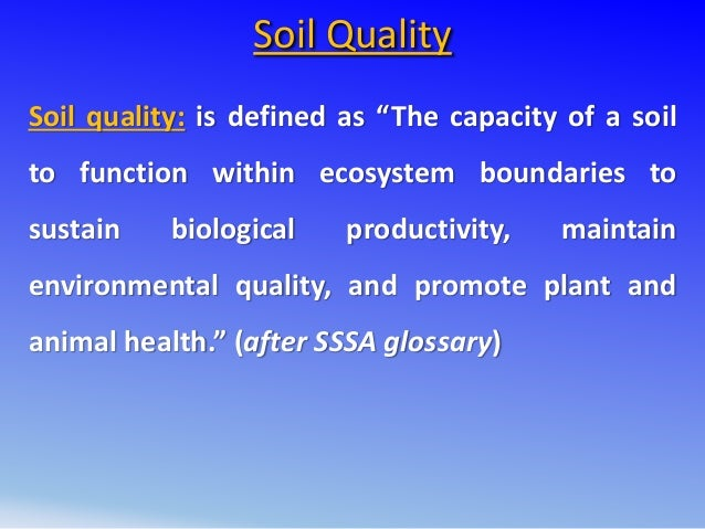 Soil and crop management cetin for Soil quality definition