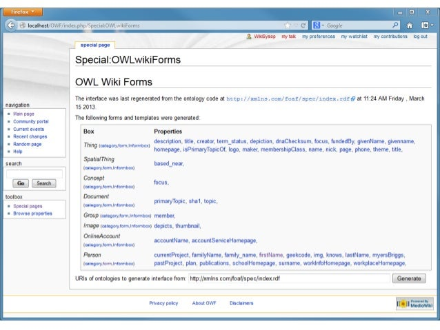 From Ontology to Wiki: Automating Generation of Semantic Wiki Interfaces from Given Ontologies with Cascading Fresnel Style