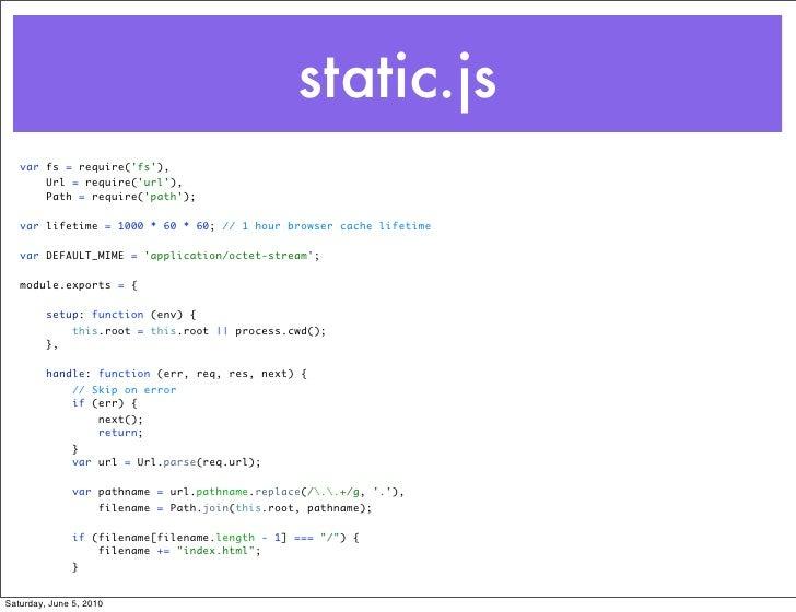 static.js    var fs = require('fs'),        Url = require('url'),        Path = require('path');     var lifetime = 1000 *...