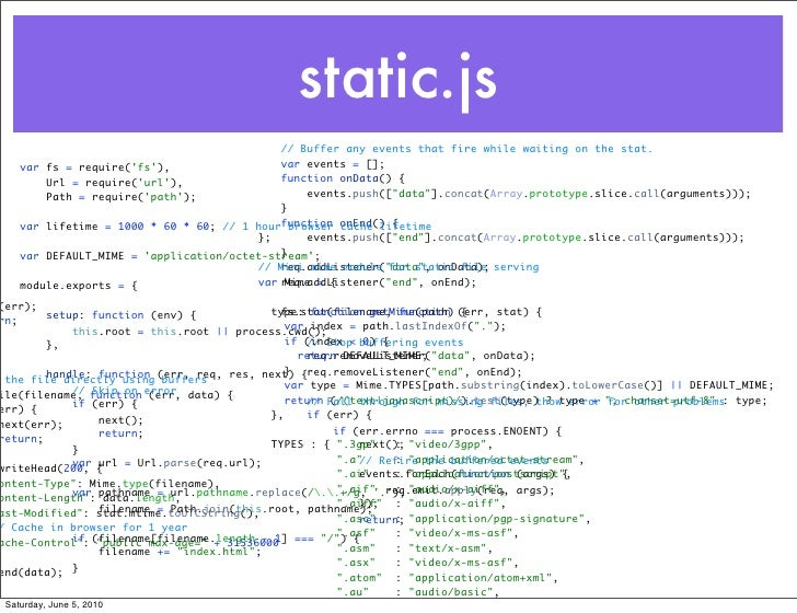 static.js                                            // Buffer any events that fire while waiting on the stat.    var fs =...