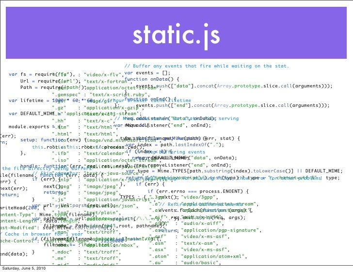 static.js                                             // Buffer any events that fire while waiting on the stat.    var fs ...