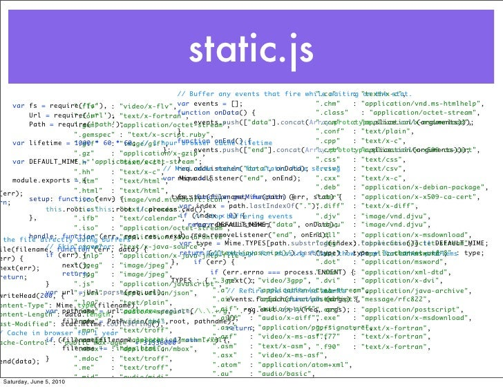 """static.js                                                    // Buffer any events that fire while waiting """"text/x-c"""",     ..."""