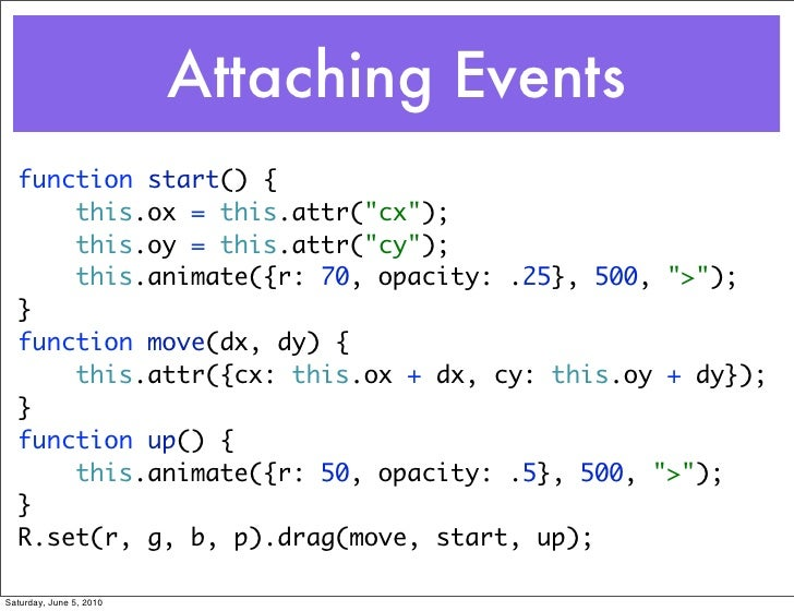 """Attaching Events   function start() {       this.ox = this.attr(""""cx"""");       this.oy = this.attr(""""cy"""");       this.animate..."""
