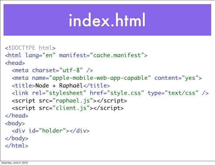 "index.html   <!DOCTYPE html>   <html lang=""en"" manifest=""cache.manifest"">   <head>     <meta charset=""utf-8"" />     <meta ..."