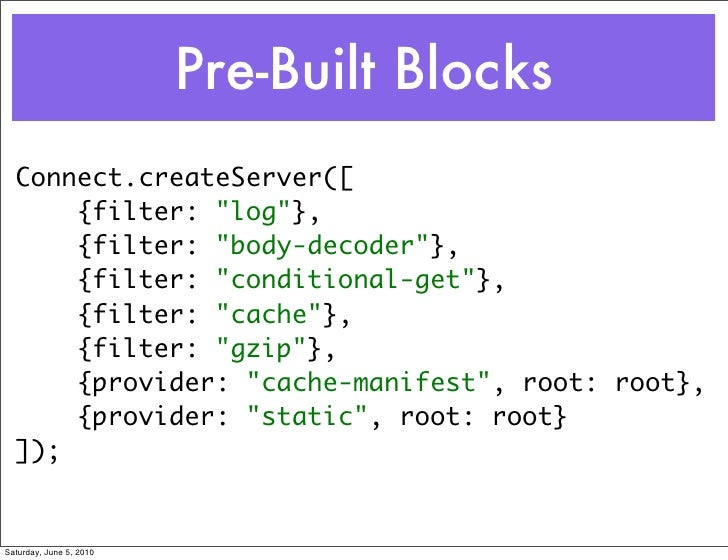 "Pre-Built Blocks   Connect.createServer([       {filter: ""log""},       {filter: ""body-decoder""},       {filter: ""condition..."