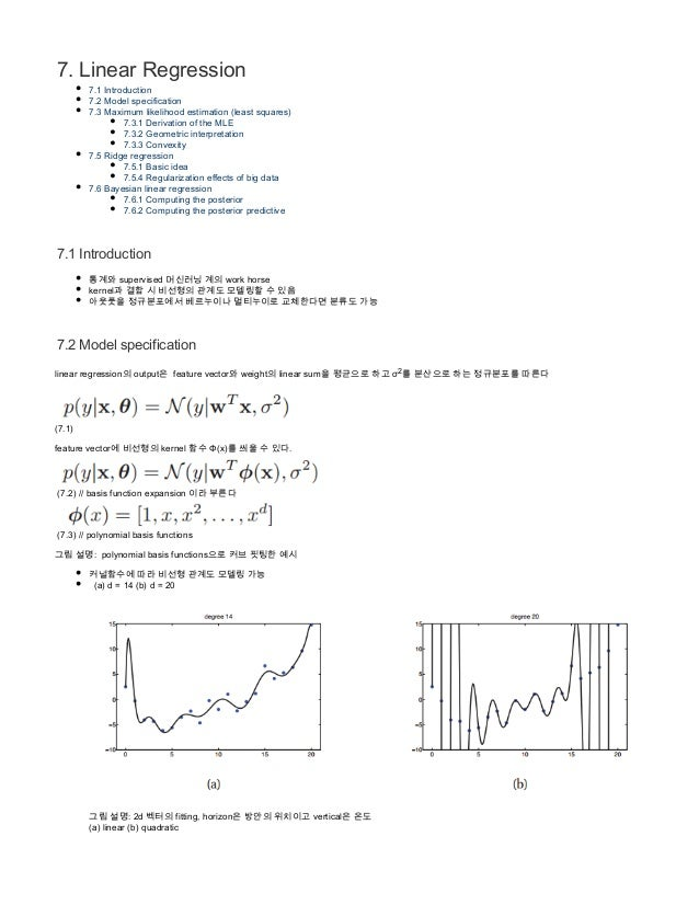7. Linear Regression 7.1 Introduction 7.2 Model specification 7.3 Maximum likelihood estimation (least squares) 7.3.1 Deri...