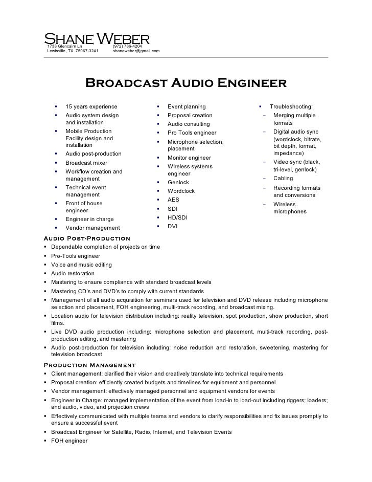 weber resume - Broadcasting Engineer Resume