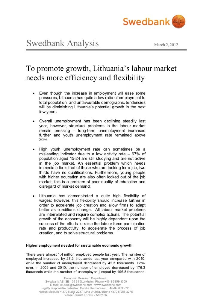 Swedbank Analysis                                                               March 2, 2012To promote growth, Lithuania'...