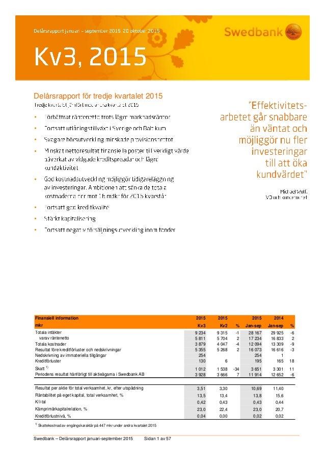 Swedbank – Delårsrapport januari-september 2015 Sidan 1 av 57 Delårsrapport för tredje kvartalet 2015         Fina...