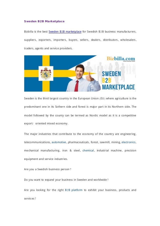 Sweden B2B Marketplace Bizbilla is the best Sweden B2B marketplace for Swedish B2B business manufacturers, suppliers, expo...