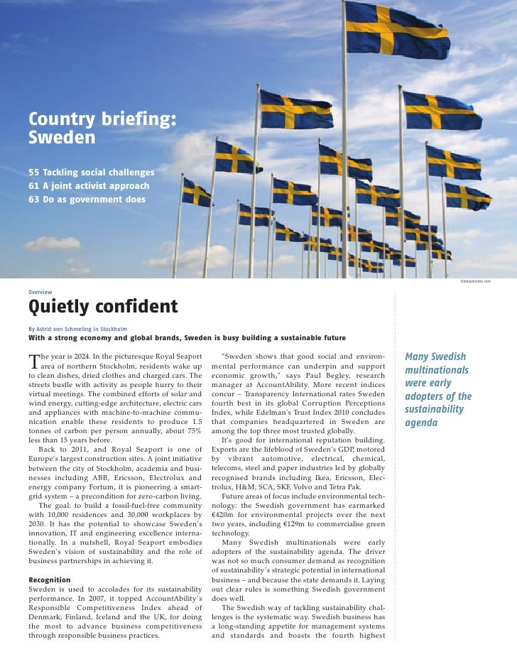 Country briefing:Sweden55 Tackling social challenges61 A joint activist approach63 Do as government does                  ...