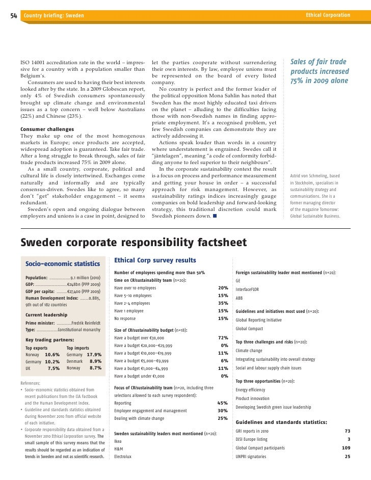 Sweden country briefing, Ethical Corporation 2011 Slide 2