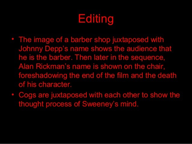 sweeney todd analysis essay Essay sweeney todd is by no means a conventional musical it takes several forms of music and theater and artfully places them together sondheim very.