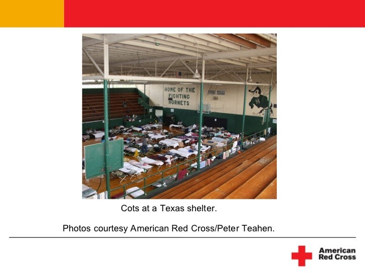 Cots at a Texas shelter. Photos courtesy American Red Cross/Peter Teahen.