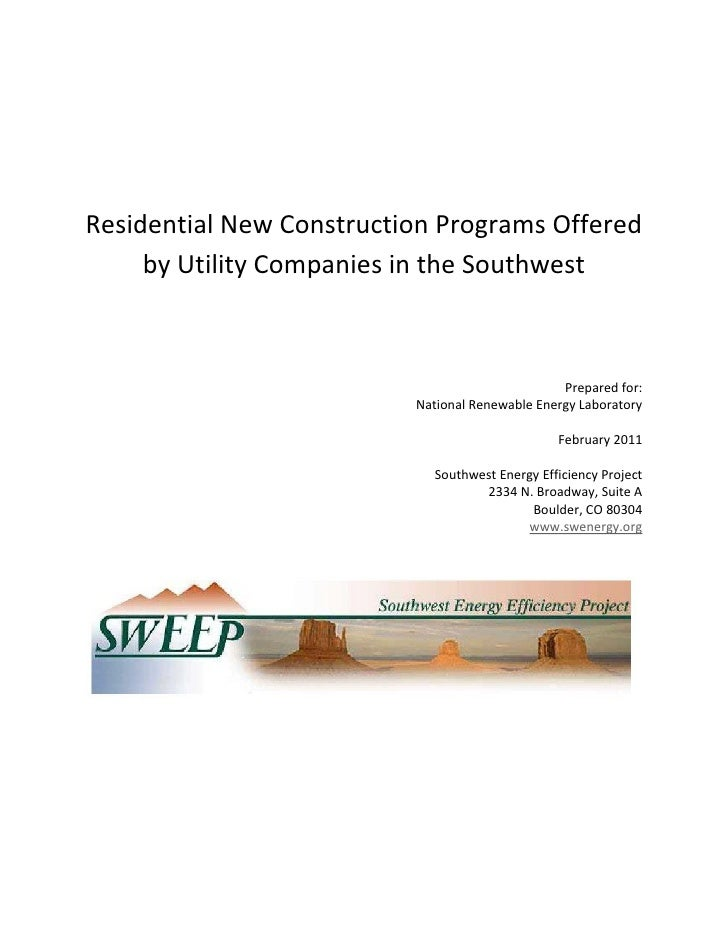 Residential New Construction Programs Offered     by Utility Companies in the Southwest                                   ...