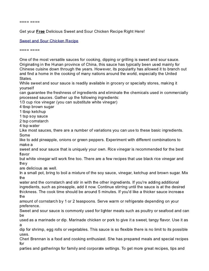 ==== ====Get your Free Delicious Sweet and Sour Chicken Recipe Right Here!Sweet and Sour Chicken Recipe==== ====One of the...