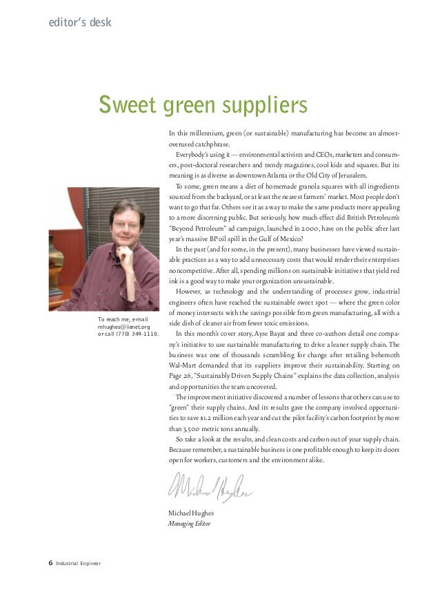editor's desk                     Sweet green suppliers                                                In this millennium,...