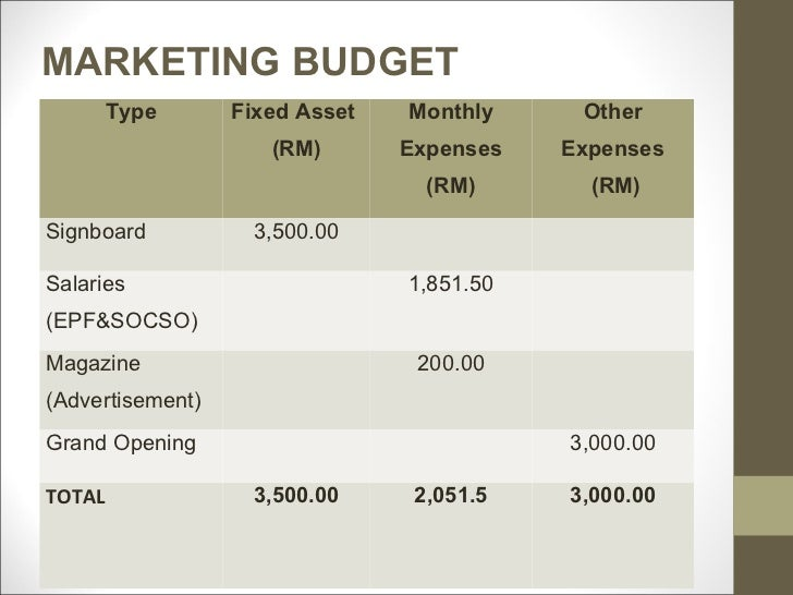 business plan marketing budget examples