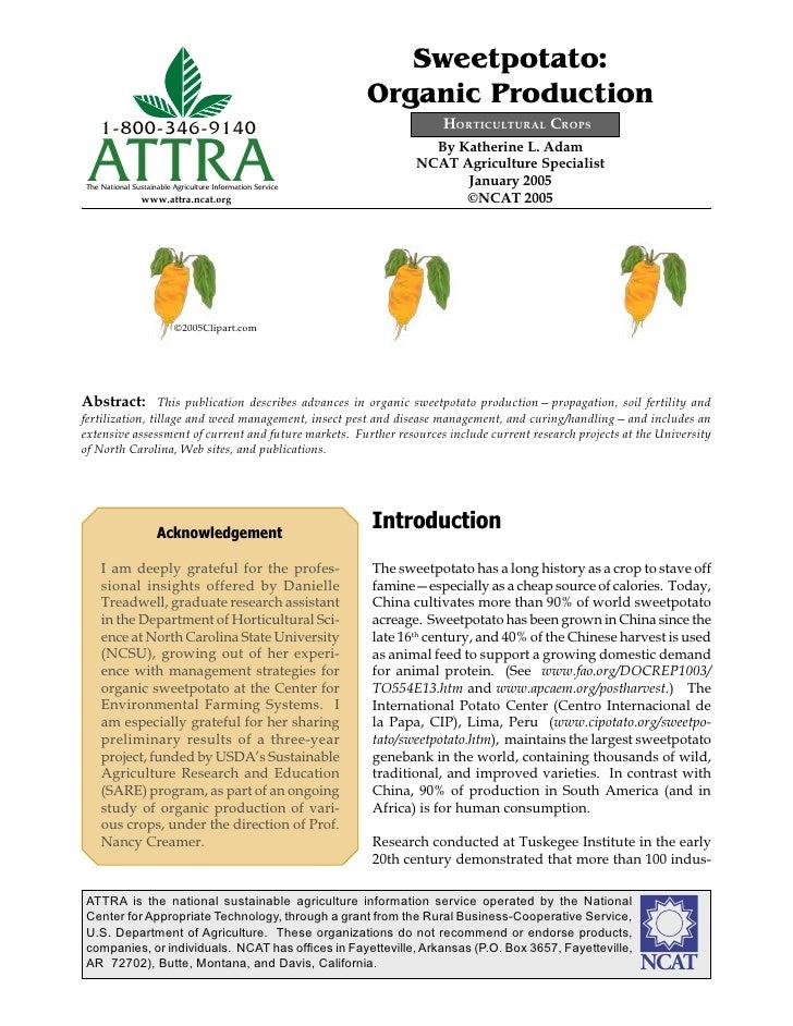Sweetpotato:                                                           Organic Production    1-800-346-9140               ...