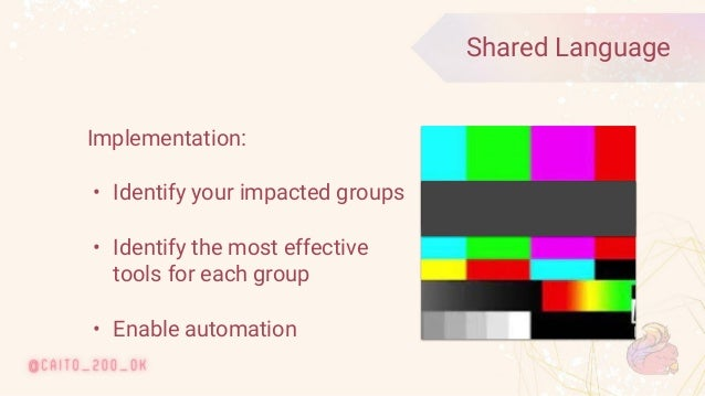 © 2020 Ververica 39 Shared Language Implementation: • Identify your impacted groups • Identify the most effective tools fo...