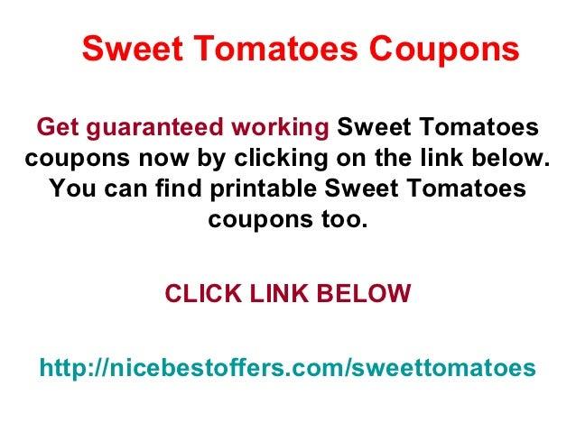 photo regarding Sweet Tomatoes Printable Coupon referred to as Adorable tomatoes discount codes printable november 2012 december 2012