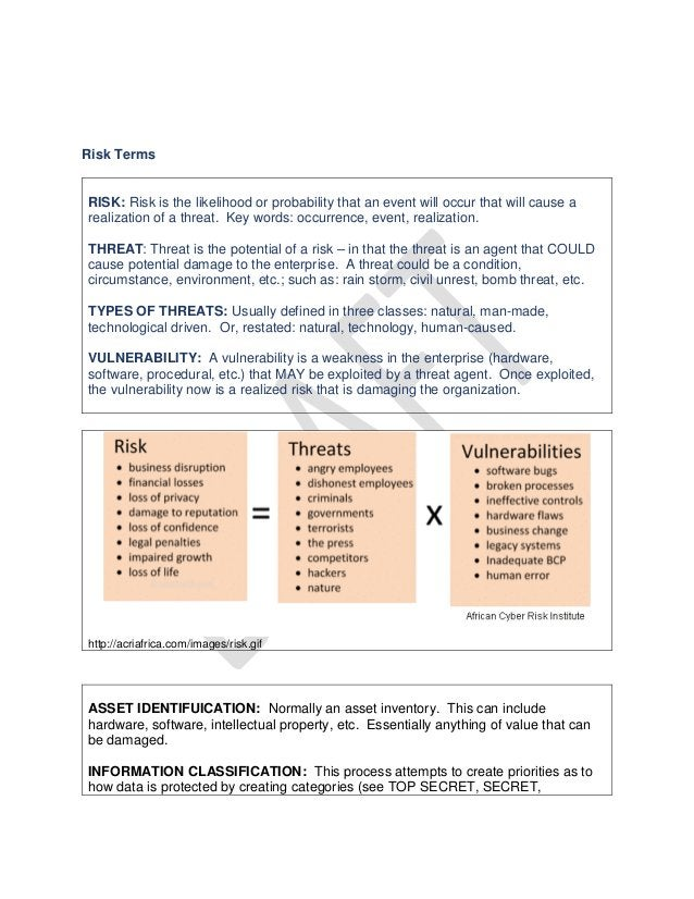 Risk Terms RISK: Risk is the likelihood or probability that an event will occur that will cause a realization of a threat....