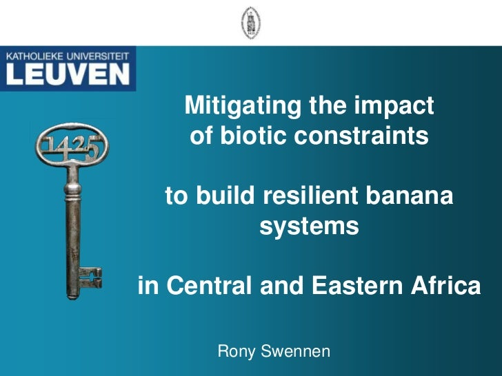 Mitigating the impact   of biotic constraints  to build resilient banana           systemsin Central and Eastern Africa   ...