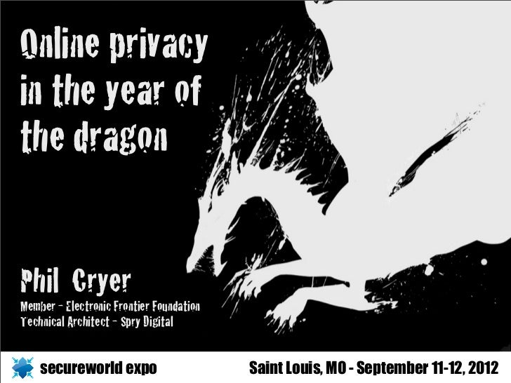 Online privacyin the year ofthe dragonPhil CryerMember - Electronic Frontier FoundationTechnical Architect - Spry Digital ...