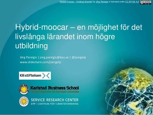 Hybrid-moocar – en möjlighet för det livslånga lärandet inom högre utbildning Jörg Pareigis | jorg.pareigis@kau.se | @joer...