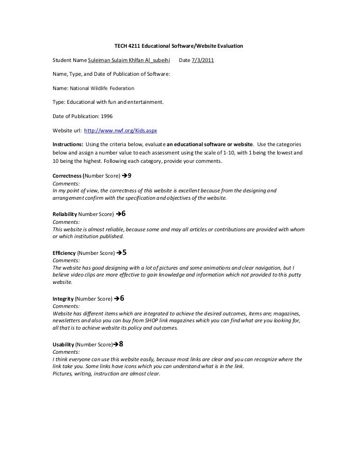 TECH 4211 Educational Software/Website Evaluation<br />Student Name Suleiman Sulaim Khlfan Al_subeihi       Date 7/3/2011<...