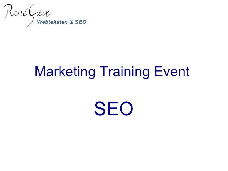 Marketing Training Event  SEO