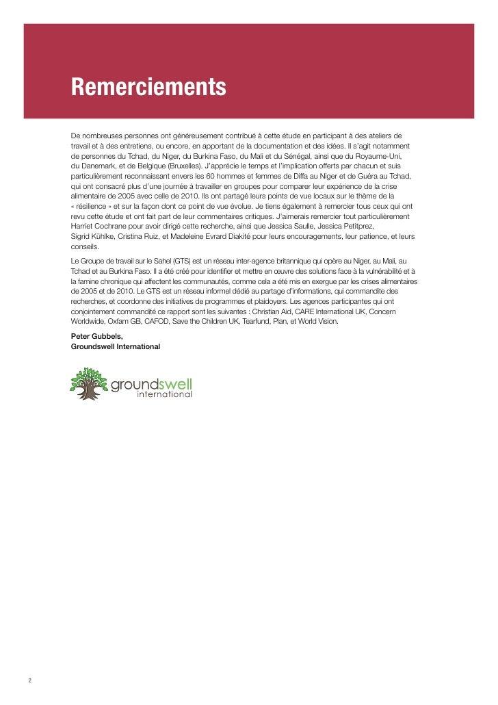 Echapper au cycle de la faim : Les chemins de la resilience au Sahel Slide 2
