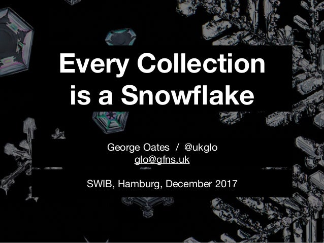 Every Collection is a Snowflake SWIB, Hamburg, December 2017 George Oates / @ukglo  glo@gfns.uk