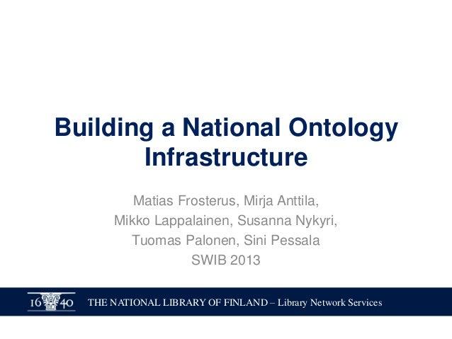 Building a National Ontology Infrastructure Matias Frosterus, Mirja Anttila, Mikko Lappalainen, Susanna Nykyri, Tuomas Pal...