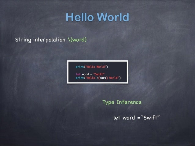 """Hello World String interpolation (word) Type Inference let word = """"Swift"""""""