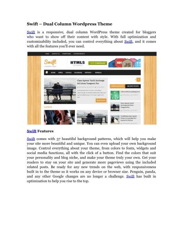 Swift   dual column wordpress theme
