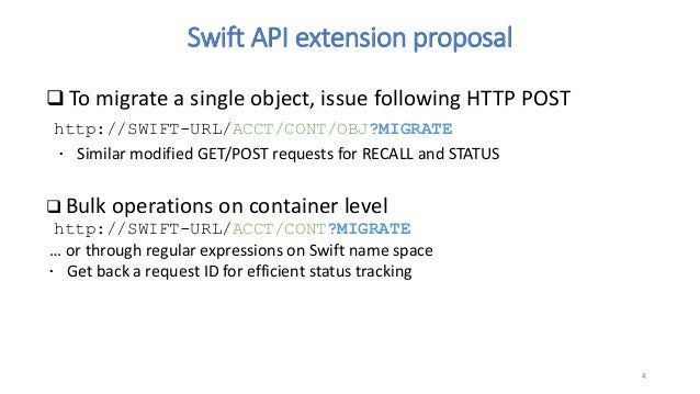 Swift extensions for Tape Storage or other High-Latency Media