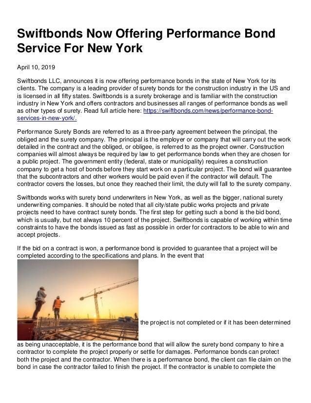 Swiftbonds Now Offering Performance Bond Service For New York April 10, 2019 Swiftbonds LLC, announces it is now offering ...