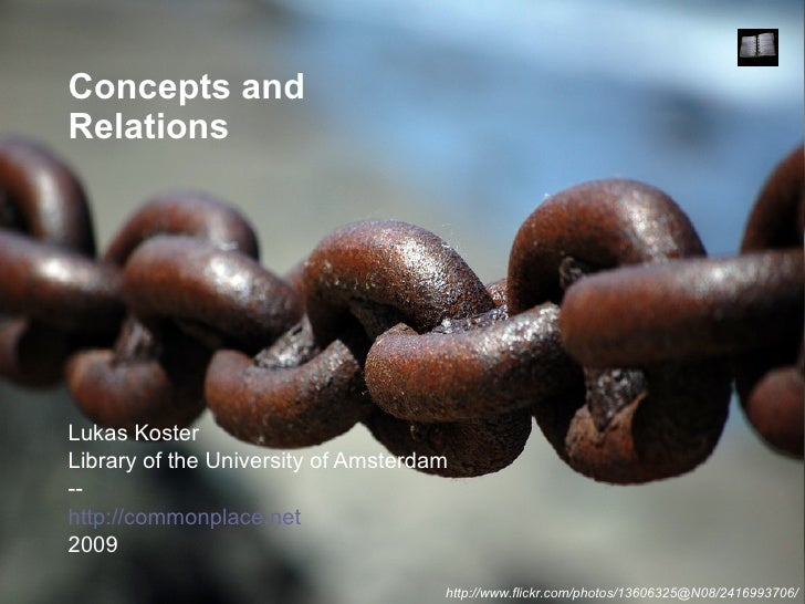Concepts and Relations Lukas Koster Library of the University of Amsterdam -- http://commonplace.net 2009 http://www.flick...