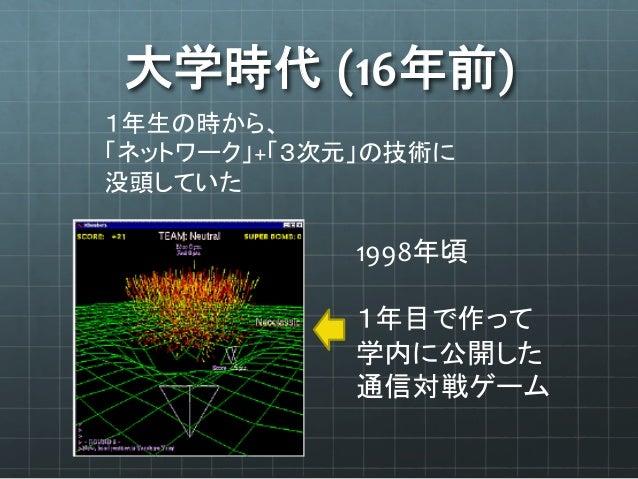 大学時代 (16年前) 1年生の時から、   「ネットワーク」+「3次元」の技術に   没頭していた 1998年頃      1年目で作って   学内に公開した   通信対戦ゲーム