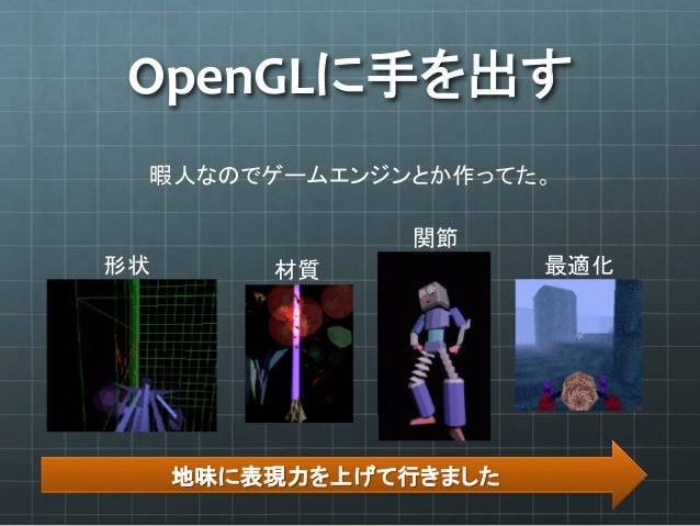 OpenGLに手を出す 暇人なのでゲームエンジンとか作ってた。 地味に表現力を上げて行きました 形状  材質 関節 最適化